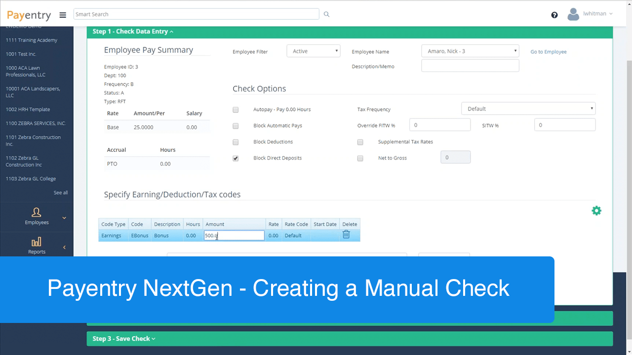 creating a manual check in payentry nextgen payentry