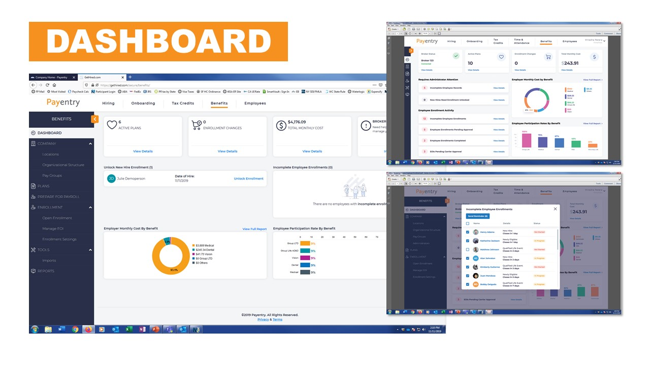 Payentry Benefits Software Company Dashboard